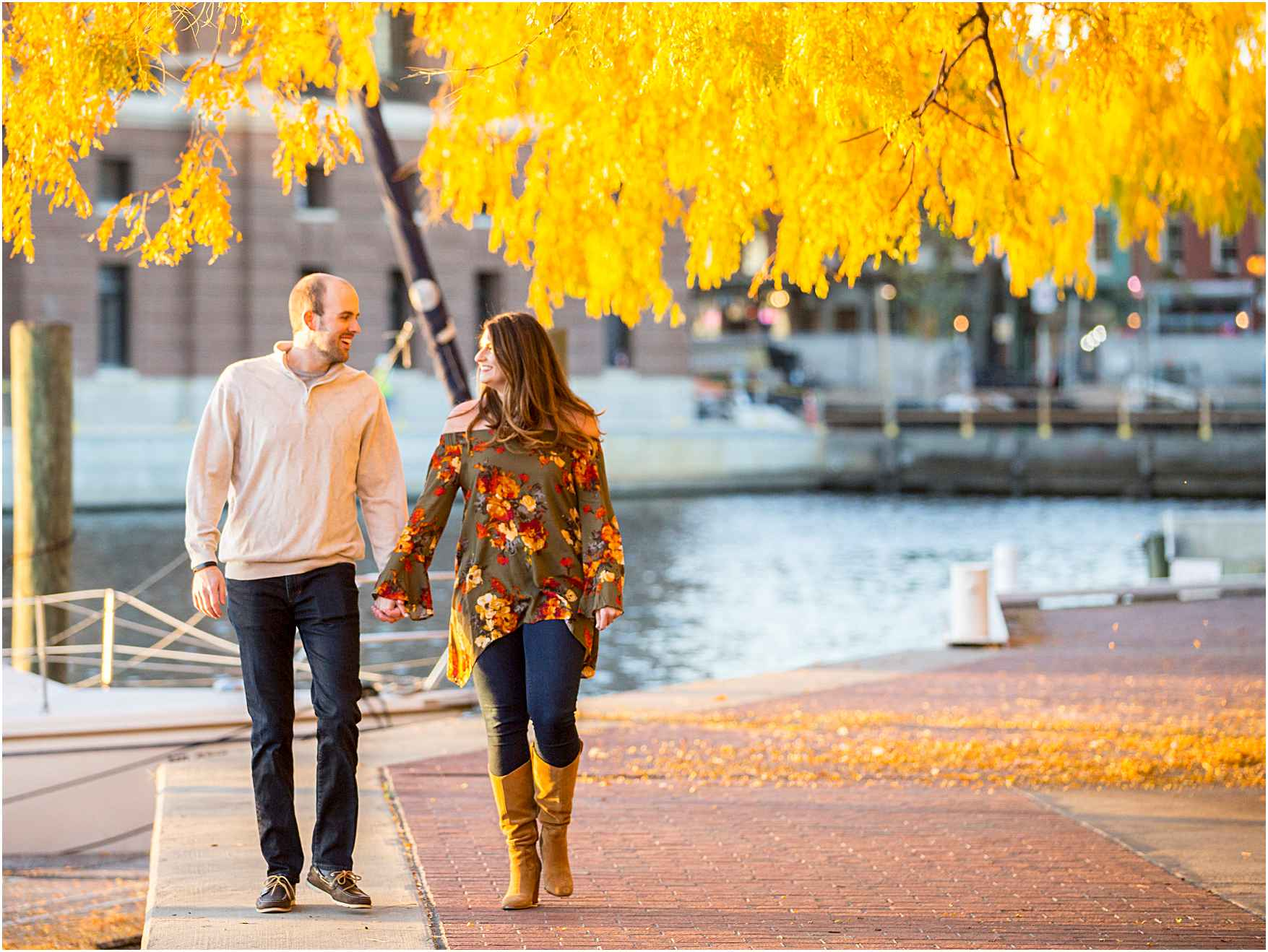 Fells Point Autumn Engagement Photos